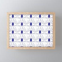 Scary cartoon eye pattern // surface design Framed Mini Art Print