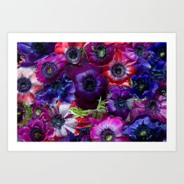 Pattern of Anemone - Floral Colorful Collage - Purple Flowers in Water - Red and Pink Wall Art Art Print
