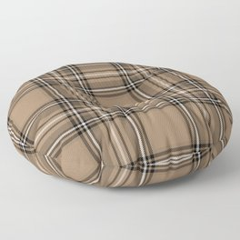 Coffee and Cream Tartan Floor Pillow