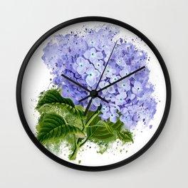 Watercolor hydrangea Wall Clock