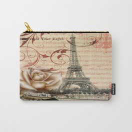 vintage chandelier white rose music notes Paris eiffel tower Carry-All Pouch