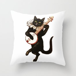 Black Halloween Cat for Decor and T Shirts Throw Pillow