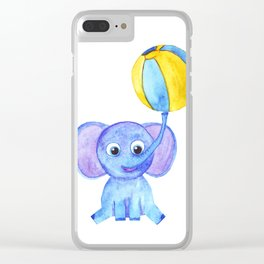 cute blue elephant with ball Clear iPhone Case