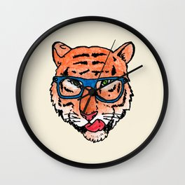 Hipster tiger face Wall Clock