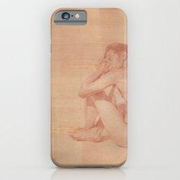 Male Nude Classic Figure Drawing Zen Peaceful Meditation iPhone Case
