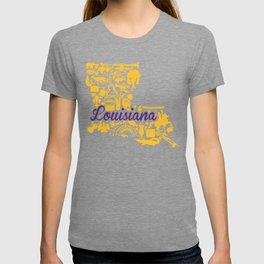 LSU Louisiana Landmark State - Purple and Gold LSU Theme T-shirt