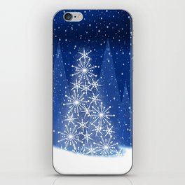Snowy Night Christmas Tree Holiday Design iPhone Skin