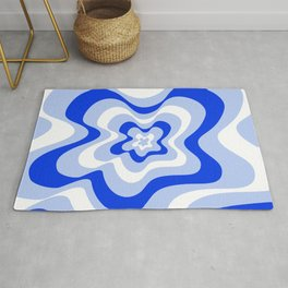 Abstract pattern - blue and white. Rug
