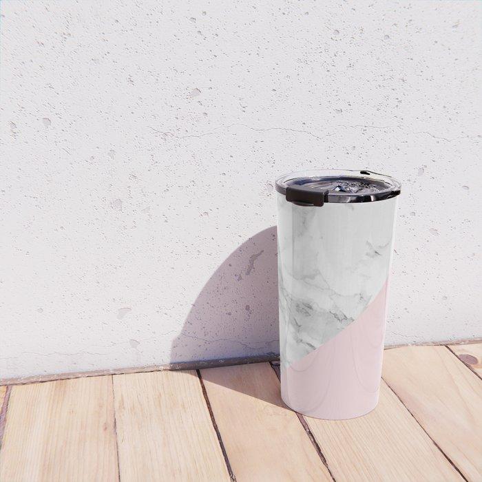 Marble + Pastel Pink Travel Mug