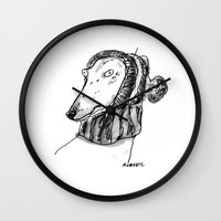 greyhound Wall Clocks featuring winter greyhound by rubyetc