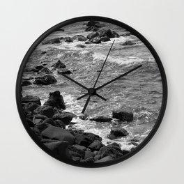 Rocky coastline, Black and White Wall Clock