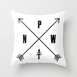 PNW Pacific Northwest Compass - Black on White Minimal Throw Pillow