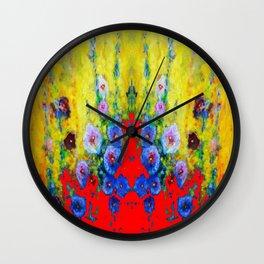 BLUE HOLLYHOCKS YELLOW & RED GARDEN MODERN ART Wall Clock