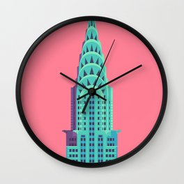 New York Art Deco Building Architecture - Red Wall Clock