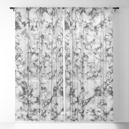 Black and White Veined Faux Marble Repeat Sheer Curtain