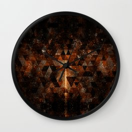 Gold beam in geometric sparkly universe Wall Clock