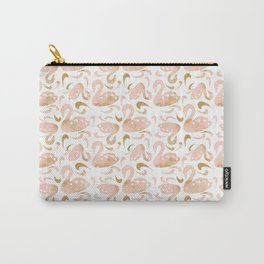 Block Swans Peach and Gold Pattern Carry-All Pouch