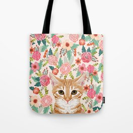 Orange Tabby floral cat head cute pet portrait gifts for orange tabby cat must haves Tote Bag