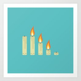 Cute Kawaii Candles Art Print