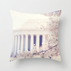 Cherry Blossoms at the Jefferson Memorial Washington DC Throw Pillow
