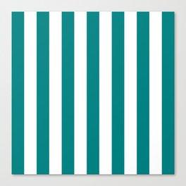 Vertical Stripes (Teal/White) Canvas Print
