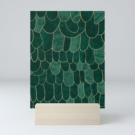 Stratosphere Emerald // Abstract Green Flowing Gradient Gold Foil Cloud Lining Water Color Decor Mini Art Print