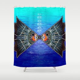 Fishies in Love, Kissing Fishes, Scanography Art Shower Curtain