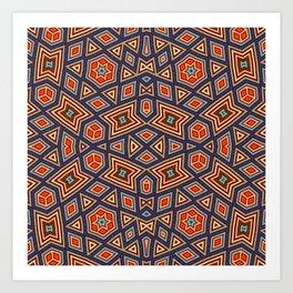 Geometric Hexagon Stars Art Print