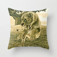 hunting Throw Pillows featuring Hunting Lioness  by Design Windmill