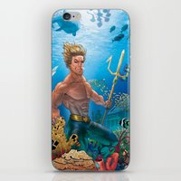 aquaman iPhone & iPod Skins featuring Aquaman Black Lagoon (Sun Kissed Water Version) by Brian Hollins art