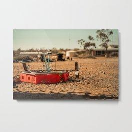 Paddleboat Deserted in the Desert Metal Print