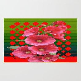 Avacodo green Red Hollyhocks Modern Art Design Rug