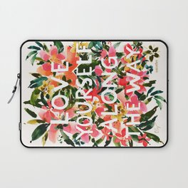LOVE YOURSELF Floral Quote Laptop Sleeve