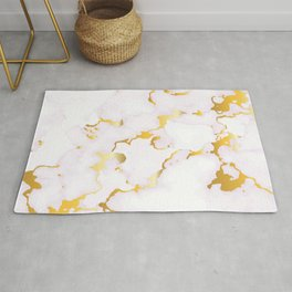 Luxury white faux marble gold leaf accent Rug