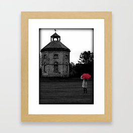 Lady Walking with Red Umbrella Framed Art Print
