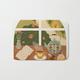 Tea Time by the Window Bath Mat
