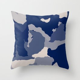 Blue Camo abstract Throw Pillow