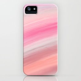 Girly aurora pink coral abstract brushstrokes iPhone Case