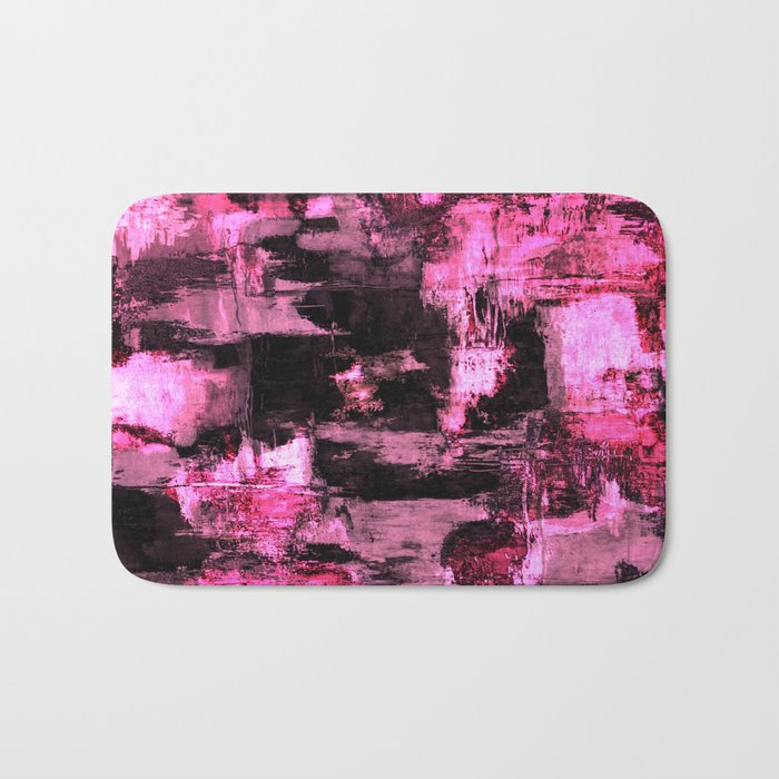Harsh Pink - Neon Pink Abstract Bath Mat