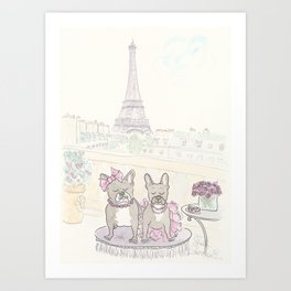 French Bulldogs and Tea in Paris with Eiffel Tower View Art Print