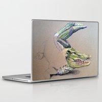 crocodile Laptop & iPad Skins featuring Crocodile by Jeanne Hollington