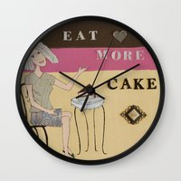 cake Wall Clocks featuring Cake by Patty Haberman