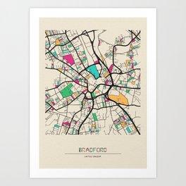 Colorful City Maps: Bradford, England Art Print