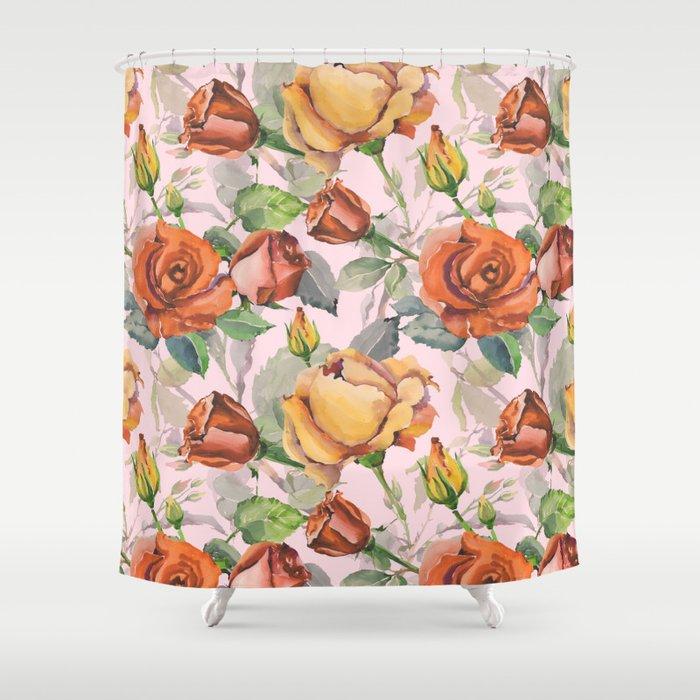 Blush Pink Orange Brown Watercolor Roses Floral Shower Curtain