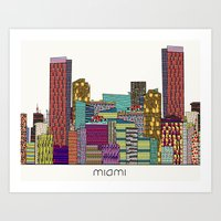 miami Art Prints featuring Miami by bri.buckley