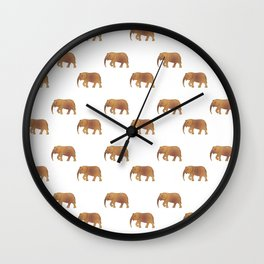 Golden elephants on a white background . illustration pattern . Wall Clock