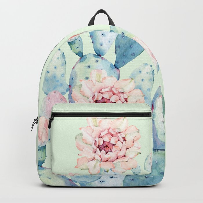 Rose Desert Cactus Mint Green + Pink by Nature Magick Backpack