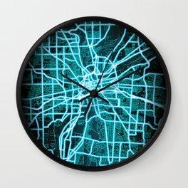 Dayton, OH, USA, Blue, White, Neon, Glow, City, Map Wall Clock