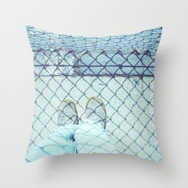 At the School Fence Throw Pillow