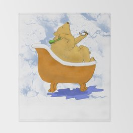 Bubble Bath - Bear in the Tub! Throw Blanket